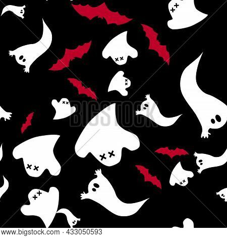 Seamless Pattern Of Cute Little Cartoon Ghosts And Red Bats On A Black Background. Background With A