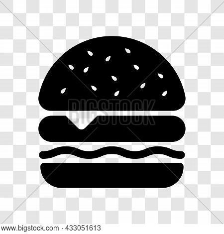 Hamburger Icon. Fast Food Cheeseburger Black Symbol Isolated On Transparent Background. Vector Illus