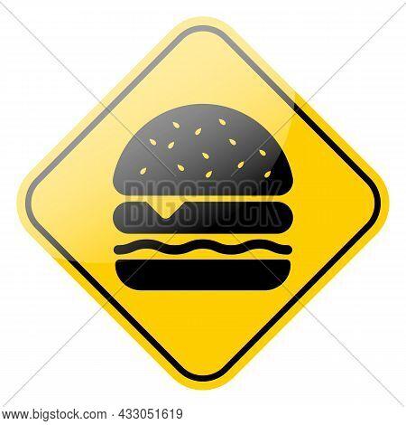 Hamburger Icon. Fast Food Cheeseburger Black Symbol Isolated On Yellow Street Sign Frame. Vector Ill