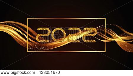 Christmas And New Year 2022 Golden Waves Vector Background. Swirl Of Golden Waves With Golden Sparkl