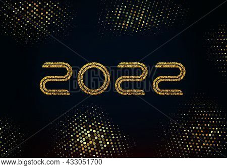 Happy New Year 2022 Golden Shining Numbers On Black Background. Party Poster, Banner Or Invitation,
