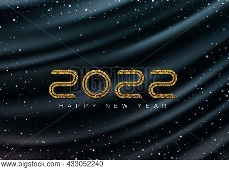 Luxurious Dark Wavy Background With Falling Snow And Numbers 2022. Gold Glitters 2022. Winter Holida
