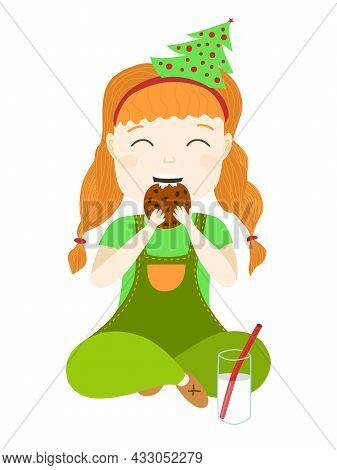 A Cute Girl Dressed As An Elf Eats Cookies And Drinks Milk. New Years Sweets For Children. Girl Wait