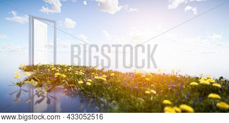Green grass way to open door on sunny sky. Hope, new life, change concept. 3D illustration
