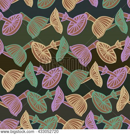 Vector Seamless Colorful Pattern With Lined Colorful Mushrooms Fungi