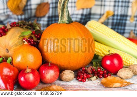 On A Wooden Table Pumpkins, Various Vegetables And Autumn Leaves. Autumn Mood. Happy Thanksgiving. C