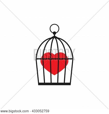 Locked Bird Cage With Red Heart Icon. Trap, Imprisonment, Jail Concept. Hidden Emotions And Feelings
