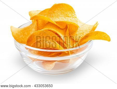Bowl With Potato Chips Isolated On White Background With Clipping Path.