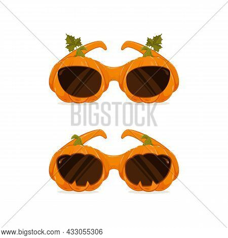Halloween Costume. Two Pumpkin Glasses Isolated On White Background. Can Be Used For Halloween Party
