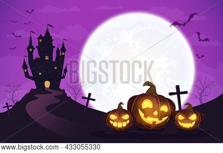 Pumpkins In Witch's Hat On Purple Moon Background With Dark Scary Castle. Holiday Card With Jack O L