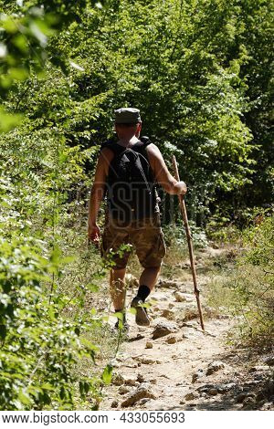 A Man With A Backpack And A Walking Stick Is Walking Along A Trail In The Forest, Traveling Alone. H