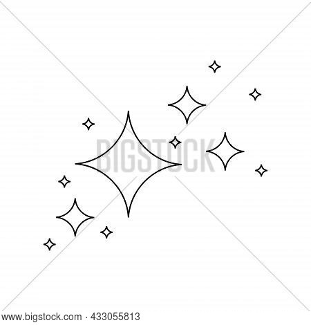 Star Sparkles And Twinkles Icons In Outline Style. Light Particles, Bright Flash, Shiny Glow, Firewo