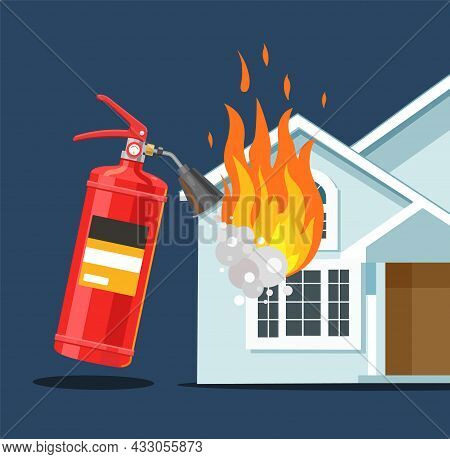 A Fire Extinguisher Extinguishes The House. Fire Safety. Flat Vector Illustration.