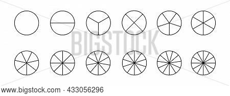 Circles Divided In Segments From 1 To 12 Isolated On White Background. Pie Or Pizza Round Shapes Cut