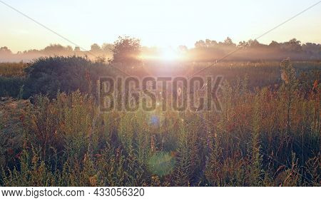 Summer Landscape With Sunny Rays Falling To Field From White Clouds On Blue Sky