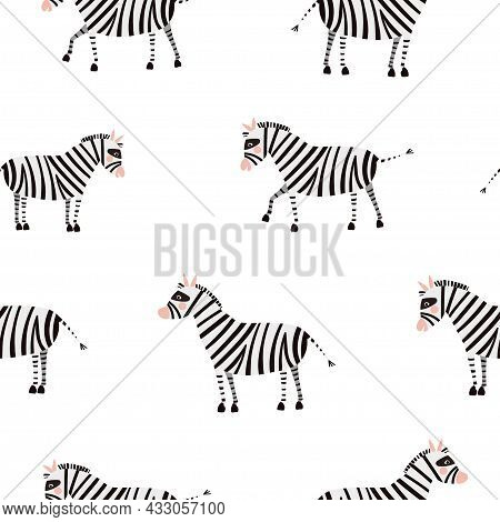 Seamless Vector Pattern With Cute Zebras Isolated On A White Background. Vector Flat Illustration.