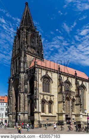 Munster, Germany North Rhine-westphalia August 15, 2021 St Lambert's Church Is A Roman Catholic Chur