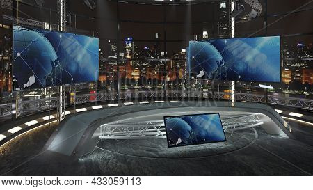 Virtual Tv Studio News Set 36-2. Green Screen Background. 3d Rendering.  Virtual Set Studio For Chro