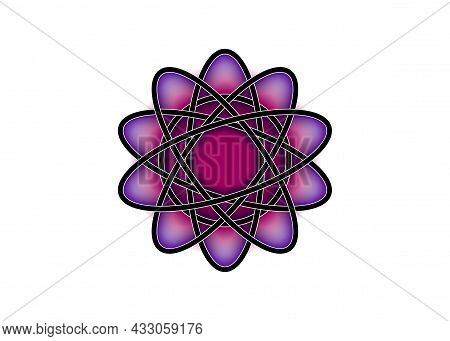Pictograph Of Atom. Purple Logo Template In Celtic Knot Style On White Background. Tribal Symbol In