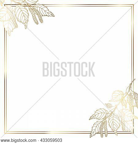 Gold Frame With A Branch And Moldings. Golden Leaves Of Birch. Beautiful Graceful Line. Shine Of Gol