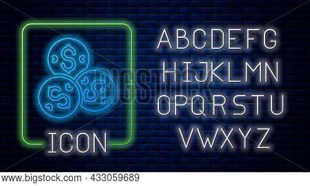 Glowing Neon Casino Chip With Dollar Symbol Icon Isolated On Brick Wall Background. Casino Gambling.