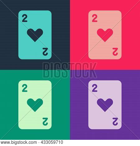 Pop Art Playing Card With Heart Symbol Icon Isolated On Color Background. Casino Gambling. Vector