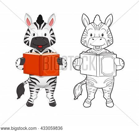 Coloring Book. Cute Striped Zebra Reading An Interesting Book. Vector Illustration In Cartoon Flat S
