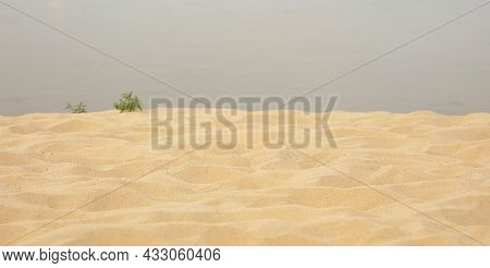 Sea Sand Beach Summer Day And Water Background, Soft Focus
