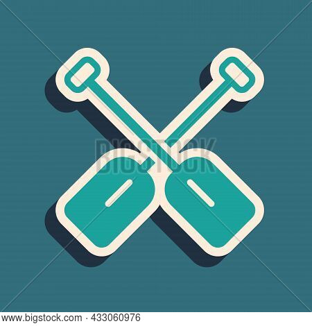 Green Paddle Icon Isolated On Green Background. Paddle Boat Oars. Long Shadow Style. Vector