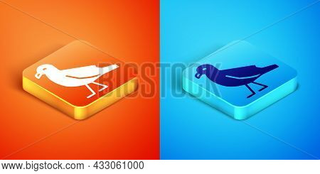 Isometric Bird Seagull Icon Isolated On Orange And Blue Background. Vector