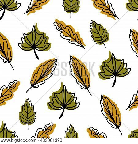 Seamless Pattern Of Fallen Autumn Leaves Of Different Shapes. Autumn Background, A Poster With Diffe