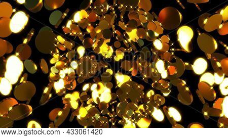 Gold Backdrop From Many Glittering Coins, Computer Generated. 3d Rendering Luxurious Symmetry