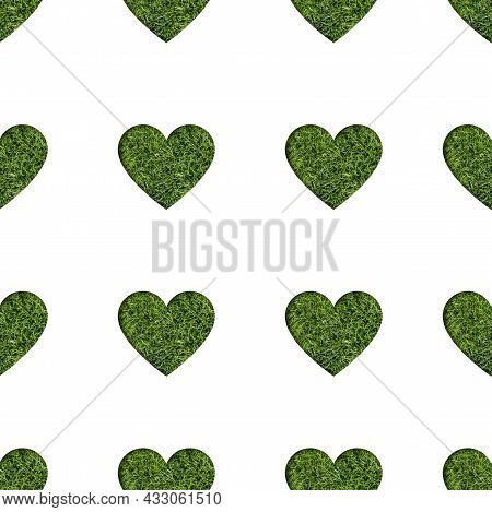 Heart Shape Filled With Green Grass Seamless Pattern. Eco Friendly Pattern. Green Valentine Banner.