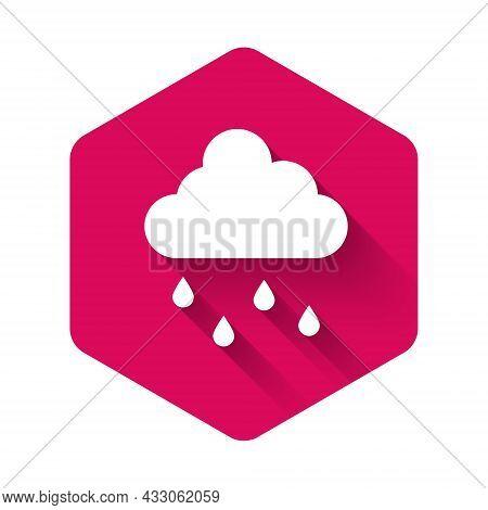 White Cloud With Rain Icon Isolated With Long Shadow Background. Rain Cloud Precipitation With Rain