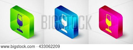 Isometric Wine Glass Icon Isolated On Grey Background. Wineglass Sign. Square Button. Vector