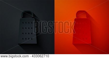 Paper Cut Grater Icon Isolated On Black And Red Background. Kitchen Symbol. Cooking Utensil. Cutlery