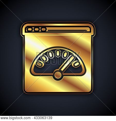 Gold Digital Speed Meter Icon Isolated On Black Background. Global Network High Speed Connection Dat