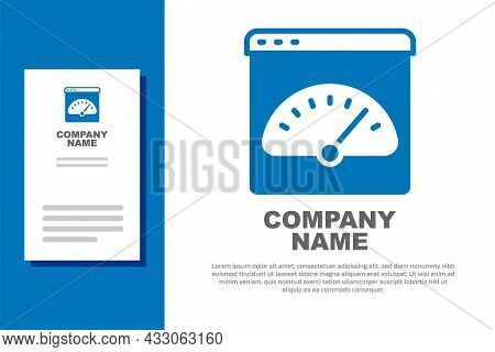 Blue Digital Speed Meter Icon Isolated On White Background. Global Network High Speed Connection Dat