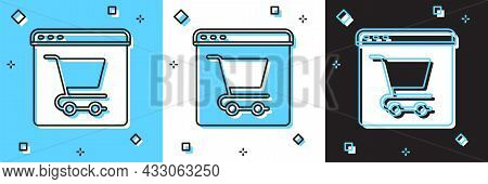 Set Online Shopping On Screen Icon Isolated On Blue And White, Black Background. Concept E-commerce,
