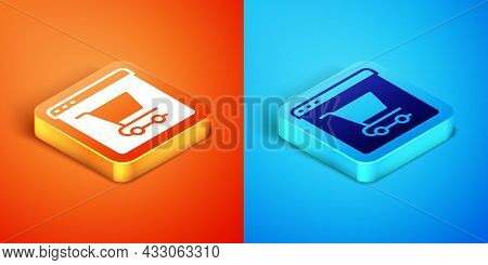Isometric Online Shopping On Screen Icon Isolated On Orange And Blue Background. Concept E-commerce,