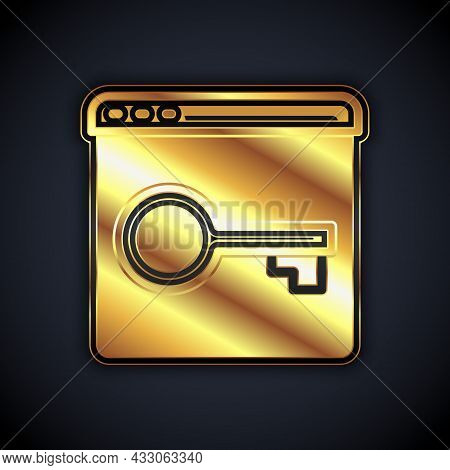 Gold Secure Your Site With Https, Ssl Icon Isolated On Black Background. Internet Communication Prot