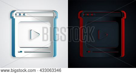 Paper Cut Online Play Video Icon Isolated On Grey And Black Background. Film Strip With Play Sign. P