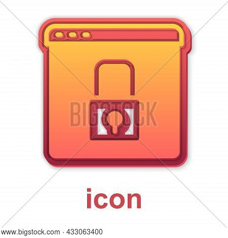 Gold Secure Your Site With Https, Ssl Icon Isolated On White Background. Internet Communication Prot
