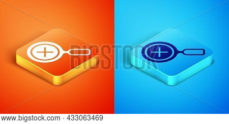 Isometric Magnifying Glass And Delete Icon Isolated On Orange And Blue Background. Search, Focus, Zo
