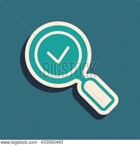 Green Magnifying Glass With Check Mark Icon Isolated On Green Background. Search, Focus, Zoom, Busin
