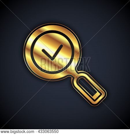 Gold Magnifying Glass With Check Mark Icon Isolated On Black Background. Search, Focus, Zoom, Busine