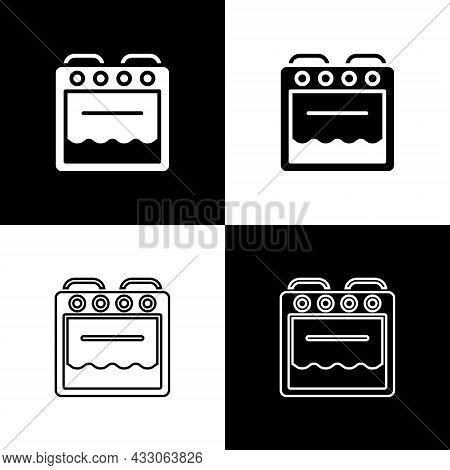 Set Oven Icon Isolated On Black And White Background. Stove Gas Oven Sign. Vector