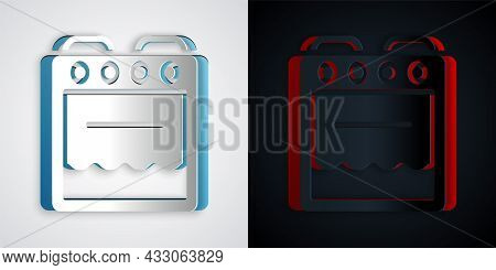 Paper Cut Oven Icon Isolated On Grey And Black Background. Stove Gas Oven Sign. Paper Art Style. Vec