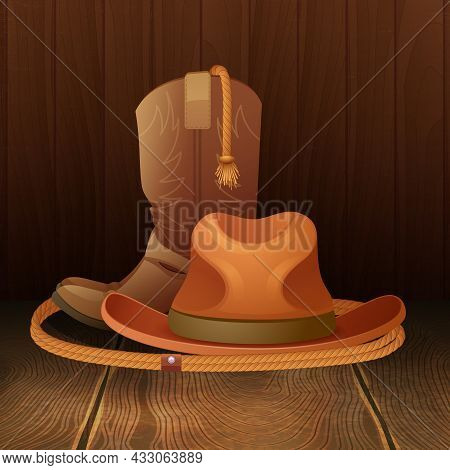 Cowboy Hat Boots And Lasso On Wooden Background Poster Vector Illustration