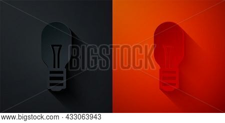 Paper Cut Light Bulb With Concept Of Idea Icon Isolated On Black And Red Background. Energy And Idea